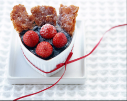 Romantic modern valnetine dessert with fresh strawberries and sweet treat.PNG