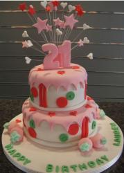 Two tier 21st birthday with pink frostings and stars and the numbers 21.JPG