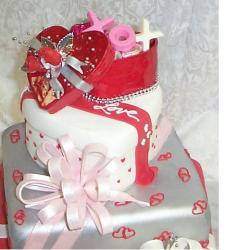 Valentine wedding cake in three tiers and cool cake decoration.PNG