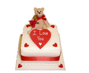 White square valentine day with big red heart saying I love you and a teddy bear holding a rose.PNG