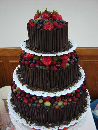 Groom's Cake with dark chocolate with fresh fruits.jpg