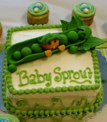 Cute baby shower cake with bean sprout theme and matching cupcakes.JPG