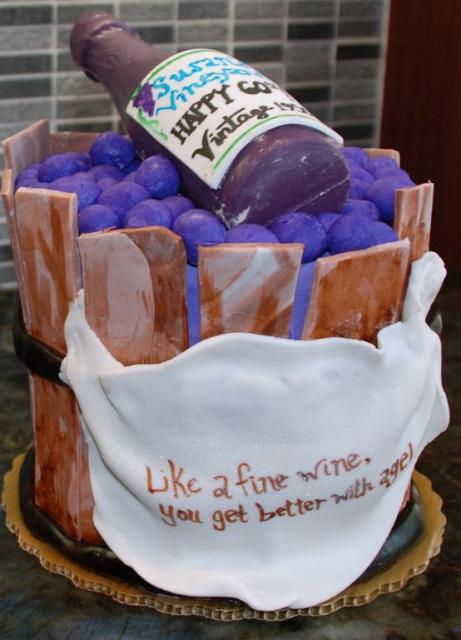 Wine Bottle Inside A Wooden Grape Basket Birthday Cake With Message That Says Like Fine