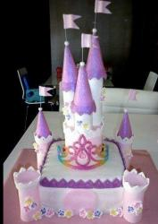 Pink and white fairy tale castle cake.JPG