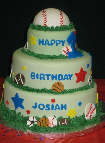 3 Tier Sports Theme Birthday Cake For Kids With Baseball On TopJPG