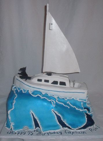 White sailboat yacht birthday cake for 75 year old.JPG