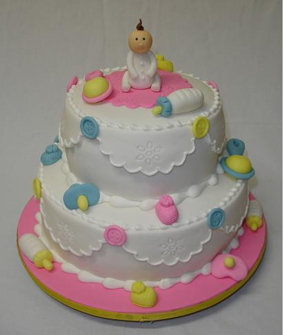 adorable baby shower cake with small baby topper png 1 comment