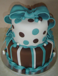 Aqua & Brown Baby Shower Cake in chocolate and white with blue ribbons decor.PNG