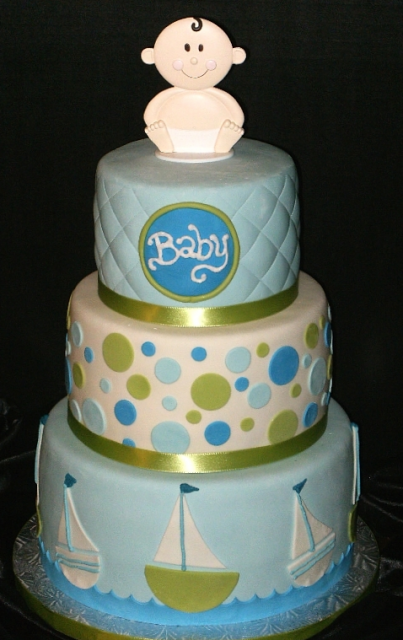photograph of baby boy baby shower cake in 3 tiers