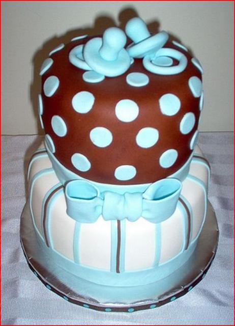 Elegant twin boys baby shower cake.