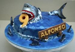 Jaws shark theme cake for 9 year old.JPG