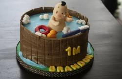 Baby in round bathtub cake for 1-month-old baby.JPG