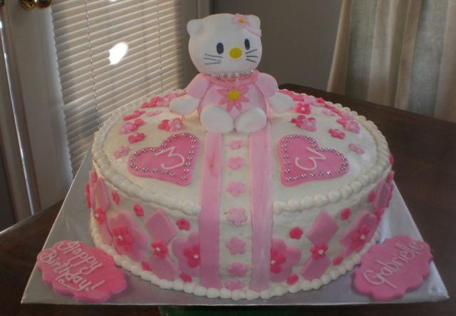 Round Hello Kitty kitty birthday cake in white and pink for girls.JPG