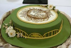 Green hat cake with flowers.JPG