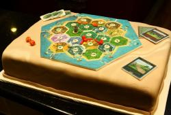 Catan game birthday cake with cards board and dice.JPG