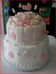 Pretty baby shower cake for baby girl with ribbons decor.jpg