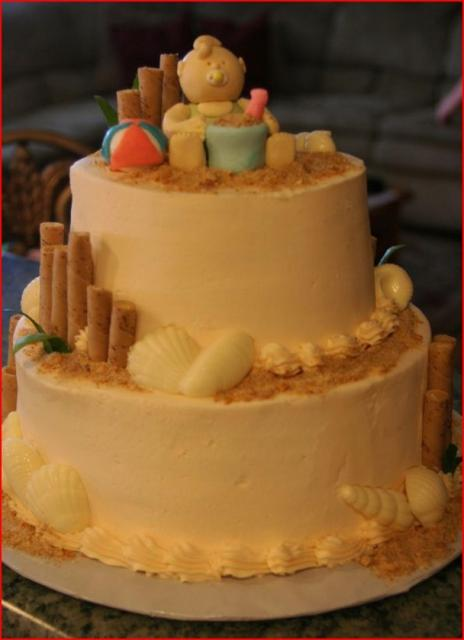 Sandy Beach Theme Baby Shower Cake Jpg