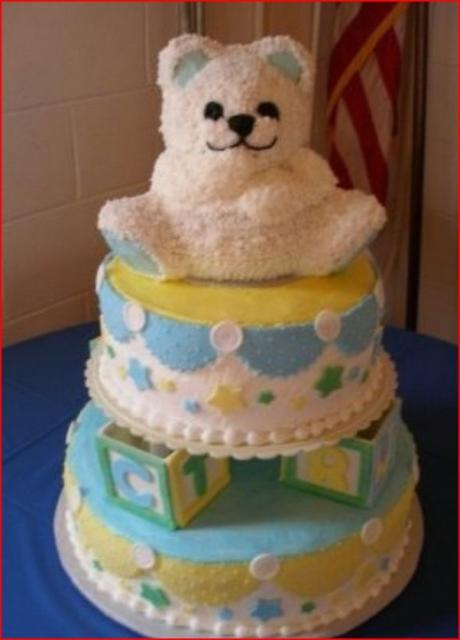 photo of teddy bear play blocks decorated baby shower cake