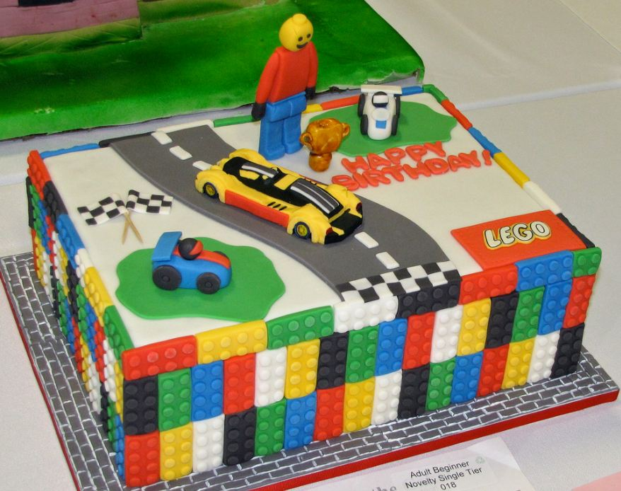 Lego blocks cake with race cars.JPG