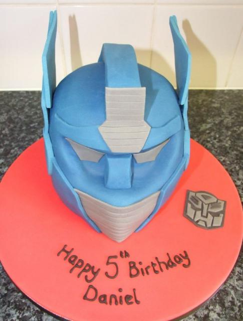 Transformers cake with head of Optimus Prime.JPG