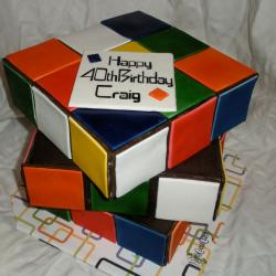 Three tier Rubiks cube birthday cake.JPG