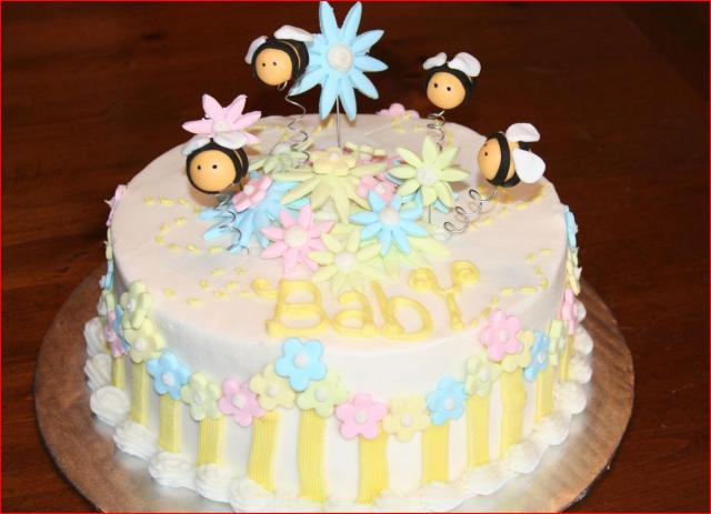 Bees and Flowers decorated Baby Shower Cake.jpg