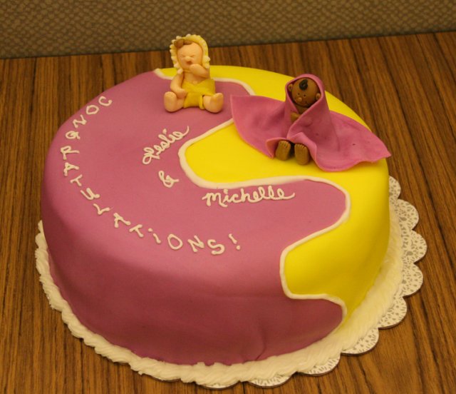 Fun Baby Shower Cake With Two Babies Toppers