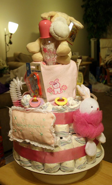 photo of girl diaper cake for a baby shower cake