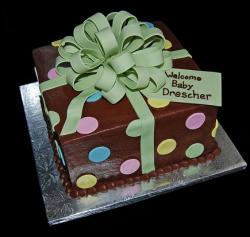 Brown gift box baby shower cake with bow.JPG