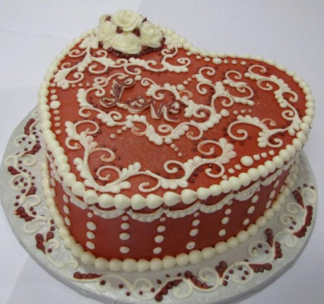 Heart shaped Love cake in chocolate and white pearls.JPG ...