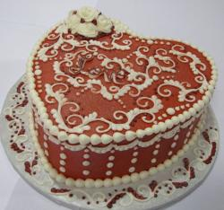 Heart shaped Love cake in chocolate and white pearls.JPG