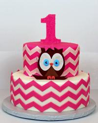 2 tier first birthday cake in 2 tiers pink zigzags & number 1 & owl.JPG