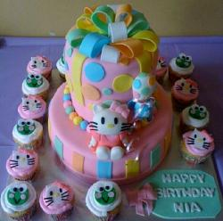 2 tier Hello Kitty pink birthday cake & accompanying Cupcakes.JPG