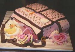 Louis Vuitton Baby Bag Cake in pink and brown.PNG