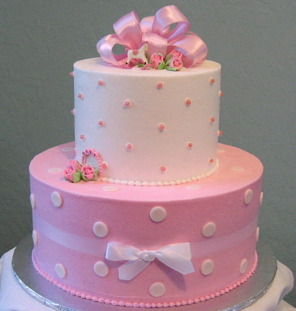 pink polka dot baby shower cake for baby girls png 2 comments