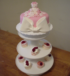 Pink Teddy Bear Baby Girl Shower Cake with cup cakes.PNG