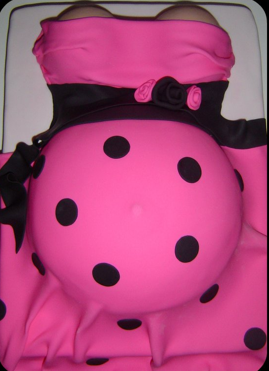 Pregnant Belly Baby Shower Cake in bright pink and black dots.PNG