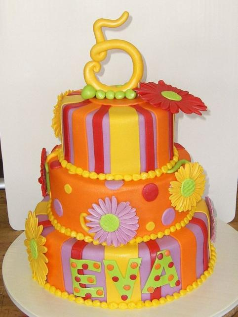 Three Tier Orange And Yellow And Purple Birthday Cake With