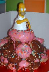 Homer Simpson doughnut birthday cake.JPG