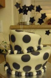 Two tier Black Pokadot topsy turvy cake.JPG
