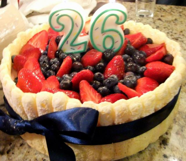 Strawberry And Blueberries Cake For 26th Birthday