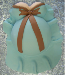 Pregnant Belly Baby Shower Cake in light blue and brown.PNG