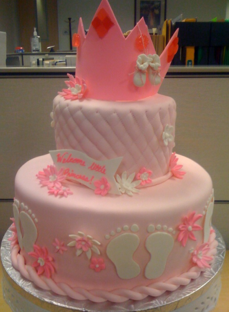 Princess Baby Shower cake in pretty pink.PNG