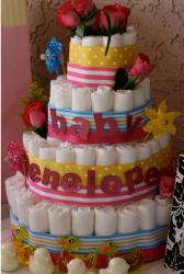 Rubber Duck Baby Shower Diaper Cake with fresh roses.PNG