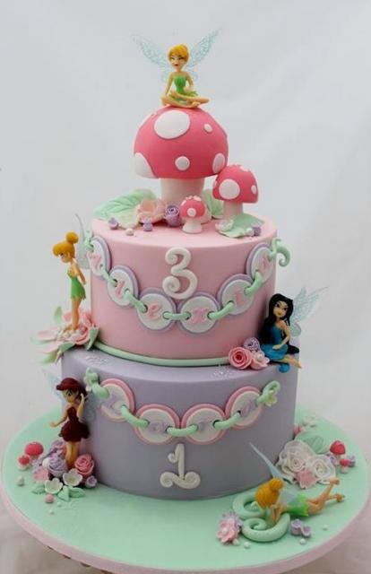 2 tier Tinkerbell theme birthday cake for girl.JPG