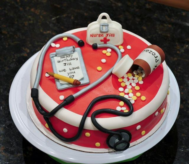 Birthday Cake For Nurse In Red Hospital Theme
