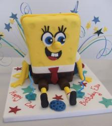 Spongbob birthday cake with Spongbob sitting down.JPG