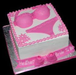 Square white bridal shower cake with pink lingerie.JPG