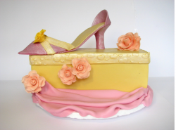 The Elegant Shoe Box with shoe on top and flowers for bride shower party.PNG