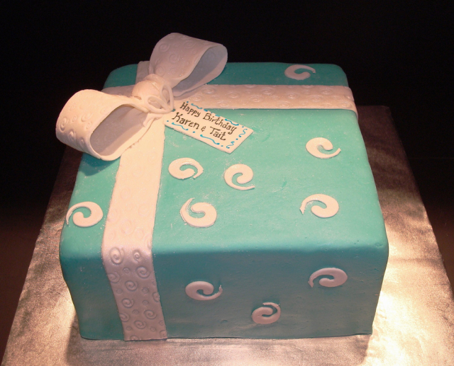 Remarkable Tiffany Blue Birthday Cake In Blue With Big White Ribbon Bow Png Funny Birthday Cards Online Alyptdamsfinfo